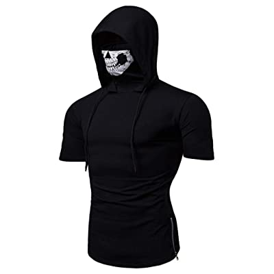 Men's Hoodie,Skull Mask Pullover Hippie Casual Sleeveless Workout Tank Top Sweatshirt: Clothing