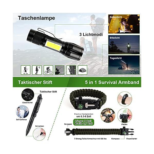 51F%2BDID8RHS LC-dolida Survival Kit 15 in 1, Außen Notfall Survival Kit mit Messer/Taktische Taschenlampe für Camping/Bushcraft…
