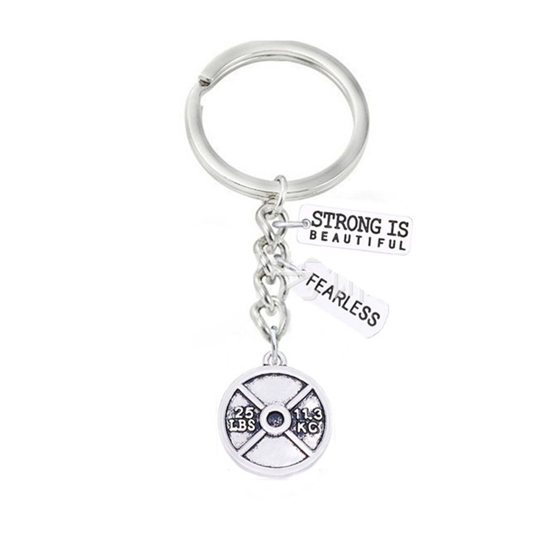 Strong is beautiful Keychain ,FEARLESS ,Weight plate Key Ring, Motivational, Fitness ,Sports Keyring ibssha