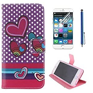 TOPMM Wave Point and Heart Shape Design PU Leather Full Body Cover with Protective Film and Stylus for iPhone 6 Plus