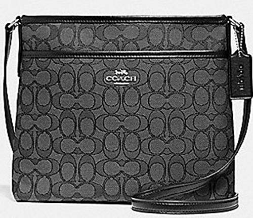 (Coach Outlined Zip File Crossbody (Black Grey))
