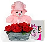 TiedRibbons® Valentine Day Romantic Gifts for Wife Bamboo Basket with Roses Bunch, Teddy Bear and Valentine's Special Greeting Card