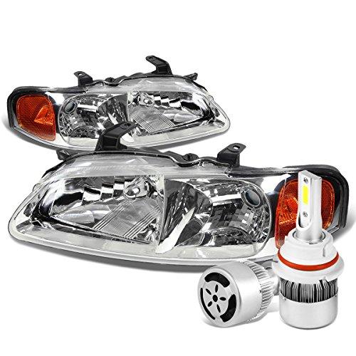 For Nissan Sentra B15 Pair of Chrome Housing Amber Signal Lamp Headlight + 9007 LED Conversion Kit W/Fan