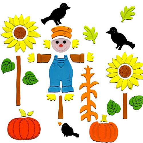 Fall Window Clings Pumpkins and Scarecrow Gel Charms Stickers Decorations with Scarecrow, Pumping, Sunflowers, Craws and Leafs