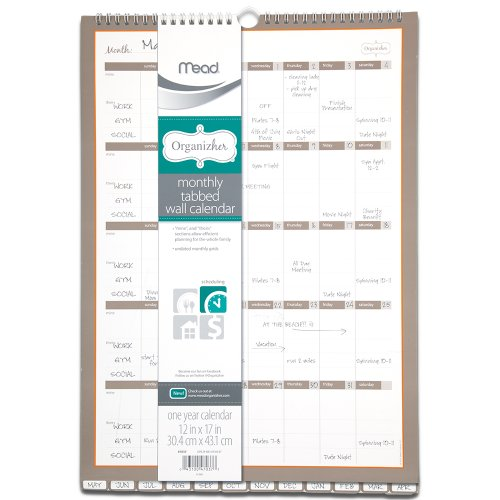 - Mead Organizher Monthly Undated Tabbed Wall Calendar, One Year, 12 x 17 Inches (47037)