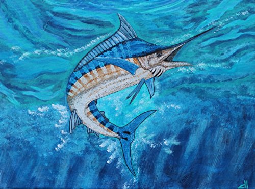 Giclee PRINT 11x14 Marlin Swordfish Acrylic Sealife Fisherman Sea Ocean Sporting Fish