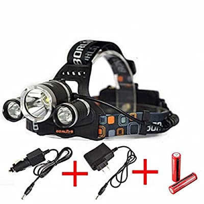 OUTERDO 6000Lumen XML2 3X T6 LED Headlight Light Headlamp Flashlight Head Lamp + 2 x 18650 Rechargeable battery + AC Charger+Car Charger