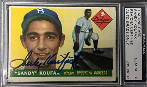 Sandy Koufax Signed 1955 Topps Rookie Card #123 RC graded mint 10 autograph - PSA/DNA Certified - Baseball Slabbed Autographed Rookie Cards