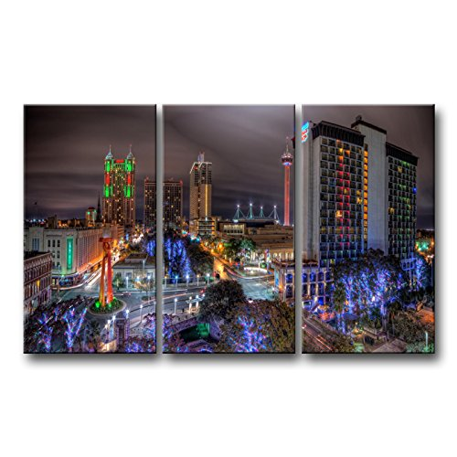 (So Crazy Art 3 piece Wall Art Painting San Antonio Texas Night Colorful Trees City Beautification Prints On Canvas The Picture City Pictures Oil For Home Modern Decoration Print)