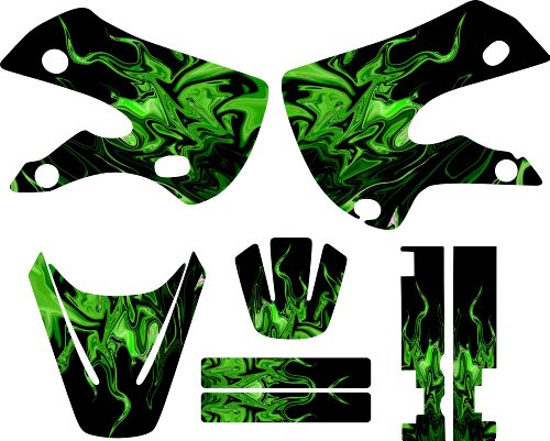 Graphics Kit Decal (Kawaskai Kx65 Klx110 Graphic Kit Green Flames Graphics Decal Sticker Mx Klx 110 Kx 65)