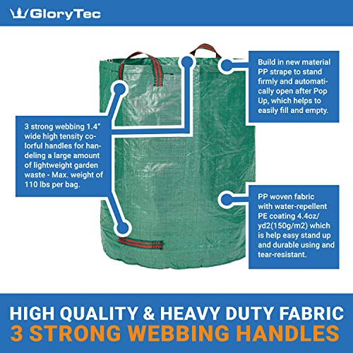 Glorytec 2-Pack Garden Bags - 132 Gallons Leaf Bag - Price-Performance Winner 2018 - Large Reusable Gardening Bagster with 4 Handles - Collapsible Lawn and Yard Waste Containers by Glorytec (Image #1)