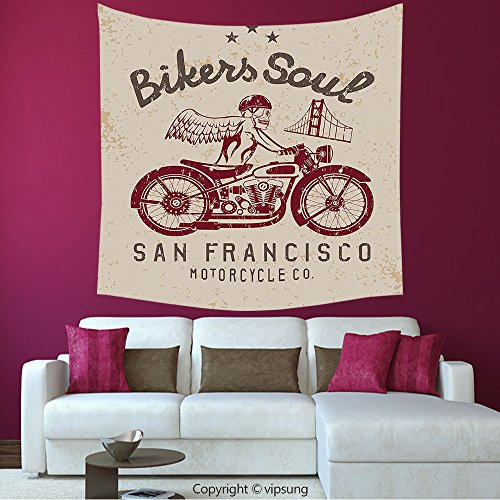 House Decor Square Tapestry-Retro Bikers Soul San Francisco Emblem With Skull Wings Riding Motorcycle Dead Illustration Beige Ruby_Wall Hanging For Bedroom Living Room (Halloween Dog Parade San Francisco)