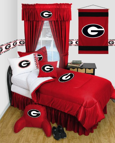 Georgia Bulldogs 8 Pc FULL Comforter Set - Locker Room Series - Entire Set Includes: (1 Comforter, 1 Flat Sheet, 1 Fitted Sheet, 2 Pillow Cases, 2 Shams, 1 Bedskirt) SAVE BIG ON BUNDLING!