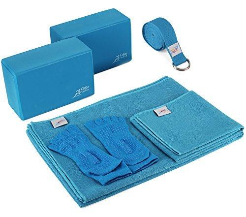 Go Go Active Yoga Accessories Set - Includes 2 Yoga Blocks, 1 Microfiber Non Slip Mat Towel 72X24, 1 Microfiber Hand Towel 24X15, 1 Yoga Strap, 1 Pair of Yoga Socks (Blue)