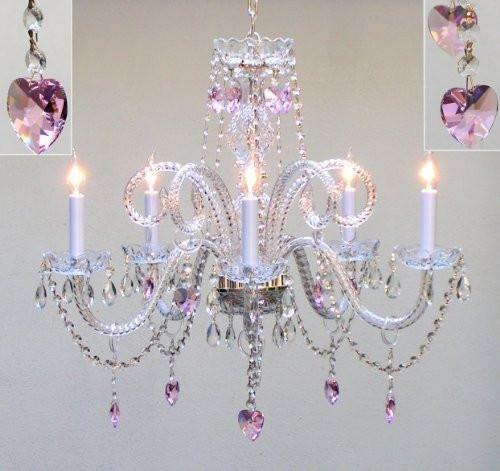 lighting for girls room. Chandelier Lighting Dressed W/Pink Empress Crystal (Tm) Hearts H25 X W24  Lighting For Girls Room L