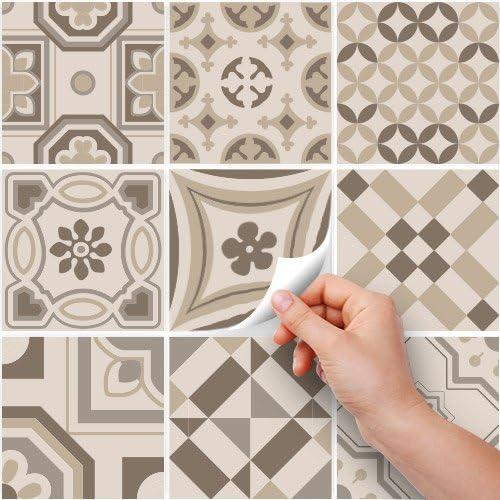 Confezione 10 Pezzi Adesivi per Piastrelle Formato 20x20 cm PS00151 Adesivi in PVC per Piastrelle per Bagno e Cucina Stickers Design Made in Italy