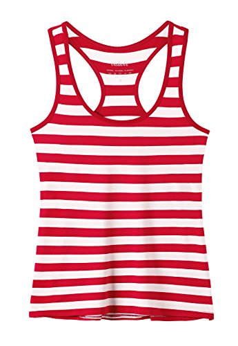 Vislivin Tank Tops for Women Racerback Tank Top Basic Workout Tanks Red Stripe S