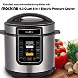 Mockins 6.3 Quart 8 in 1 Electric Pressure Cooker with 16 Functions Including