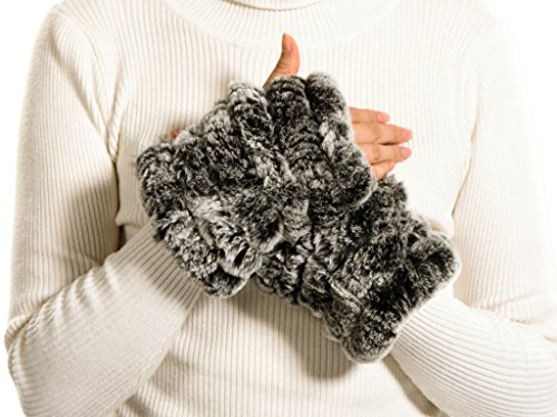 Nice Glory Women's Rex Rabbit Fur Six Bands Fingerless, used for sale  Delivered anywhere in USA