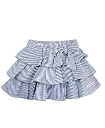 RuffleButts Infant / Toddler Girls Ruffled Blue Seersucker Skirt w/ Bow - Blue Seersucker - 18-24m