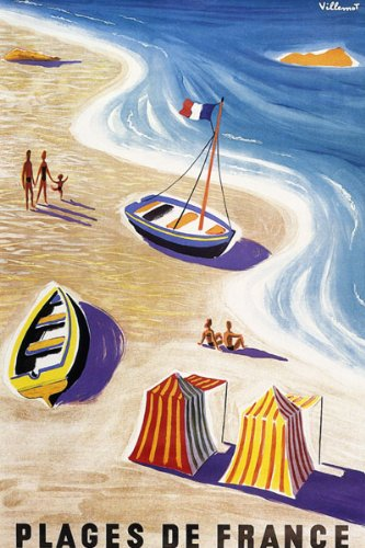 (BEACHES OF FRANCE SUMMER TRAVEL SAILBOAT FRENCH FLAG FAMILY FUN VINTAGE POSTER REPRO)