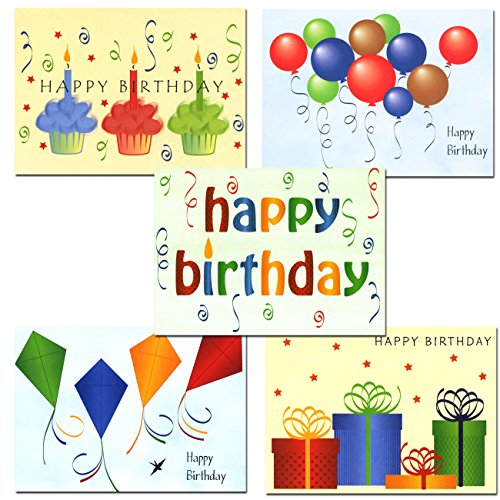 Happy Birthday Cards  Assortment - Box of 30 Blank Note Cards - 6 Colorful Designs - and 32 Envelopes