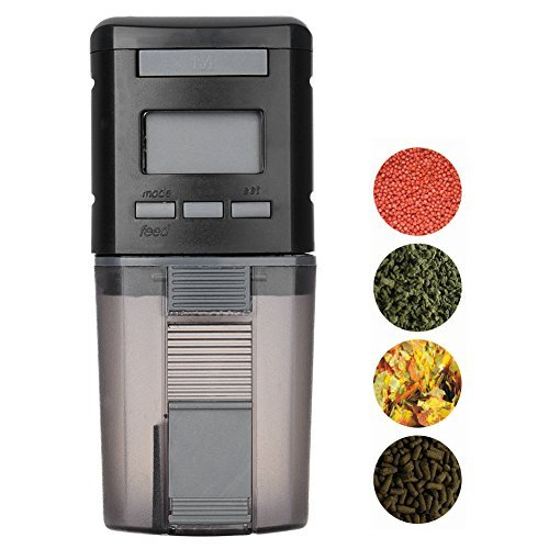 Petacc Programmable Automatic Fish Feeder Multi-functional Fish Food Dispenser Auto Fish Food Timer with LCD Display and Feeding Time Setting, Suitable for Aquarium, Fish Tank and Turtle Tank by Petacc