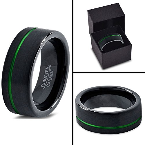 Tungsten Wedding Band Ring 10mm for Men Women Green Black Pipe Cut Brushed Polished Offset Line Lifetime Guarantee