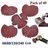 INSMA 40pcs 60-240 Grit Mouse Sanding Sheets for Black Decker Detail Palm Sander 60+80+120+240 Grit