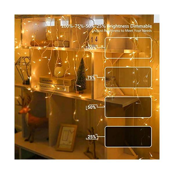 Luci Natale Esterno Cascata, BrizLabs 8.8M 360 LED Tenda Luminosa Catena Luminosa Interno Luci Stringa Decorazione Natalizie 8 Modalità con Telecomando per Casa Feste Giardino Finestra, Bianco Caldo 3 spesavip