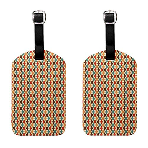 Retro Men's luggage tag Funk Different Vintage Pattern Composition with Geometric Forms Simplistic Artwork Multicolor (2 PCS)