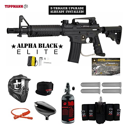 MAddog Tippmann U.S. Army Alpha Black Elite Tactical w/E-Grip Elite HPA Paintball Gun Package - Black