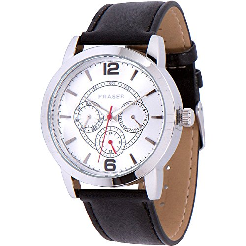 Men's Business Casual Chronograph Watch - (Day Date 24hr Subdials) Stainless Steel Quartz Analog Black Leather Band in Gift Box