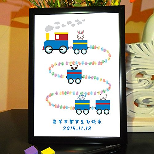 Sykdybz Creative Baby 100 Days To The Age Of The Child Birthday Party Of The Fingerprint Of The Bookmark To The Personalized Hand-Painted, Custom Canvas 40X60Cm