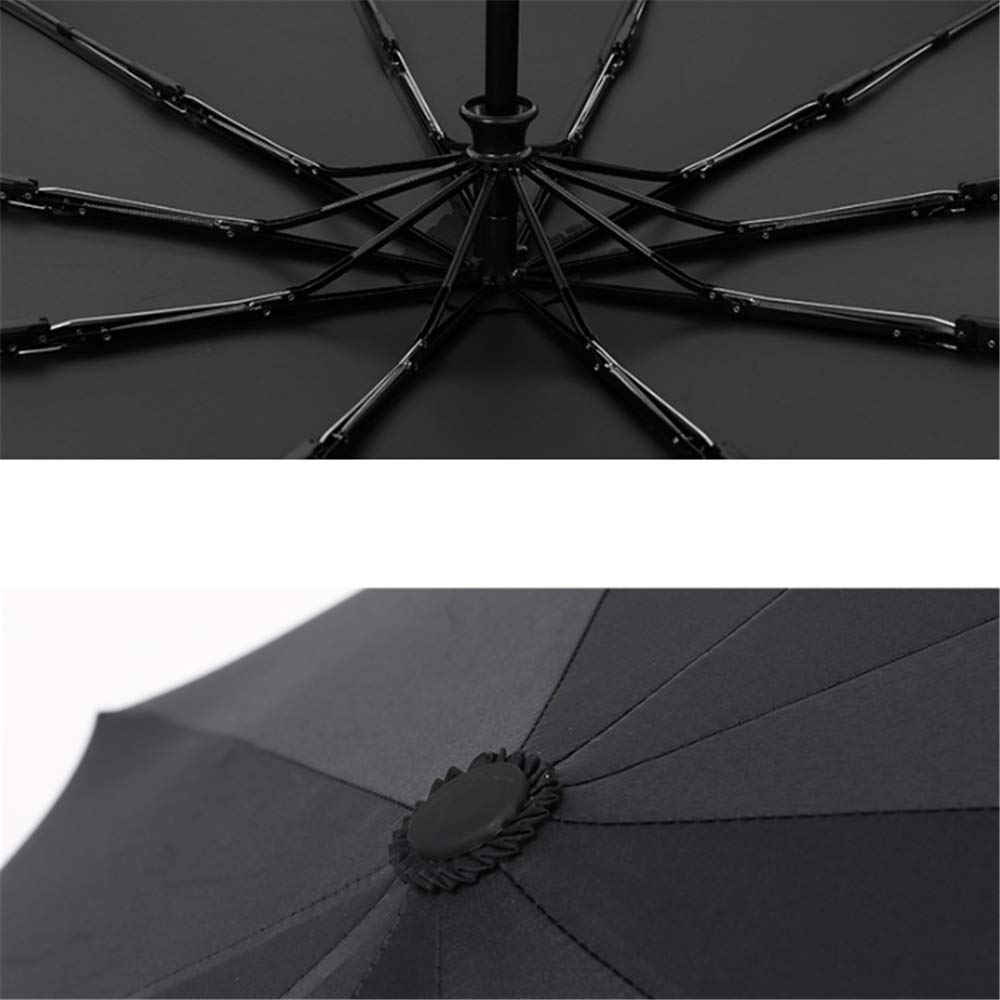 zhenfa Pegamento Negro automático Negocios Paraguas Metal Madera Mango% sombrilla Negro plástico Sol Paraguas Plegable: Amazon.es: Jardín
