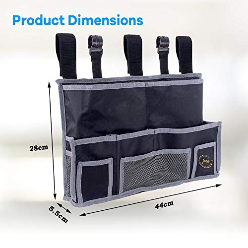 JOED Bedside Caddy Organizer for Accessories - The Larger Essential Bed Tray Buddy That Doubles as TV Remote Control Holder | 10 Pocket Hanging Storage Bag for Dorm Room, Bunk Bed, Loft Beds & Travel