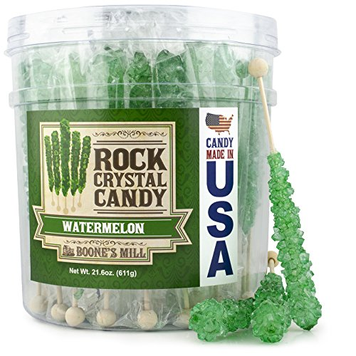 Boone's Mill | Rock Crystal Candy Sticks | Green Watermelon | 36 -