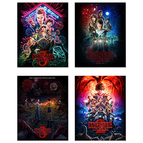 Poster Print Set - Stranger Things Poster Prints Set of 4 (11 inches x 14 inches) Season 1-2 - 3 - Eleven Dustin Lucas Mike Will Max Hopper