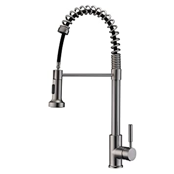 Aspa Brushed Nickel Kitchen Faucet Pull Down Pull Out Sprayer Spring