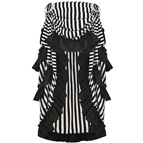 Alex sweet Adjustable Ruffle High Low Gothic Skirt Plus Size Steampunk Corset Skirt Long Dress (XXL, Black) ()