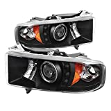 Spyder Auto (PRO-YD-DR99-SP-HL-AM-BK) Dodge RAM Sport Black Halo Projector Headlight with Replaceable LEDs