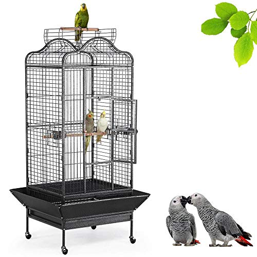 Yaheetech Wrought Iron Rolling Extra Large Open Playtop Bird Cage for Mini Macaw Goffin's Cockatoo Cockatiels African Grey Amazon Parrots Green Cheek Conures Caique Bird Cage with Rolling Stand