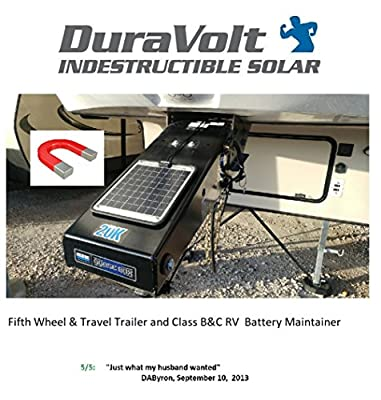 """DuraVolt Fifth Wheel & Travel Trailer (Class B&C RV) Magnetic Battery maintainer 12 Volt 8.3 Watt - No Experience Plug & Play Design. Dimensions 11.8"""" L x 10.0"""" W x 1/4"""" Thick. 10' Cable."""