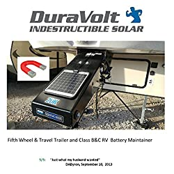 DuraVolt Fifth Wheel & Travel Trailer (Class B&C RV) magnetic battery maintainer 12 Volt 8.3 Watt - No experience Plug & Play Design. Dimensions 11.8 L x 10.0 W x 1/4 Thick. 10' cable.