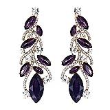 EVER FAITH Austrian Crystal Bohemia Bridal Leaf Dangle Earrings for Bride, Bridesmaid Purple Gold-Tone