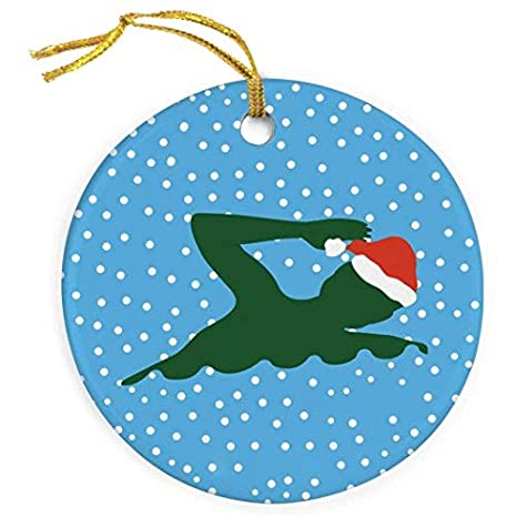 Hanging Christmas Ornaments Silhouette.Amazon Com Restore2a Swimming Porcelain Ornament Silhouette