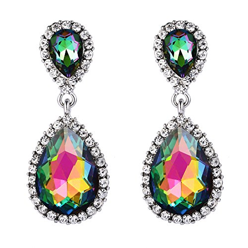 EVER FAITH Women's Austrian Crystal Prom Tear Drop Dangle Earrings Green AB Silver-Tone ()
