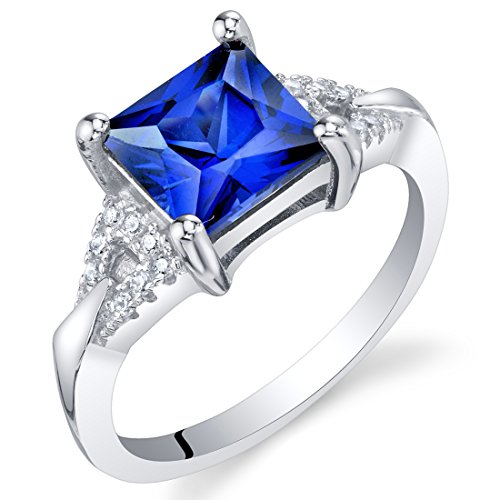 Created Blue Sapphire Sterling Silver Sweetheart Ring Size 8