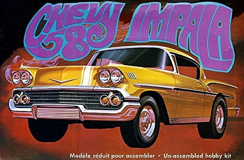 Chevy Impala Models - AMT AMT946 1:25 Scale 1958 Chevy Impala Moulded in Gold Plastic Model Kit