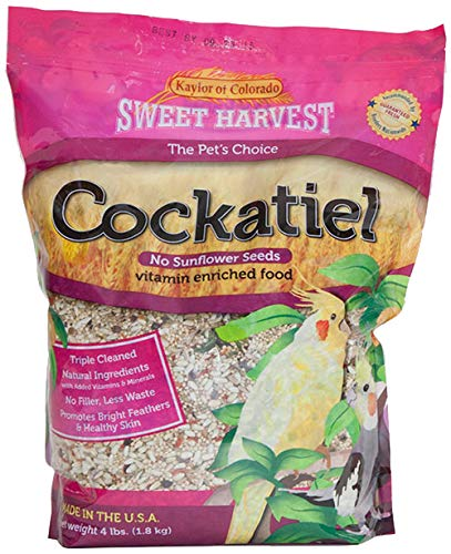 Sweet Harvest Cockatiel Bird Food (No Sunflower Seeds), 4 lbs Bag - Seed Mix for ()